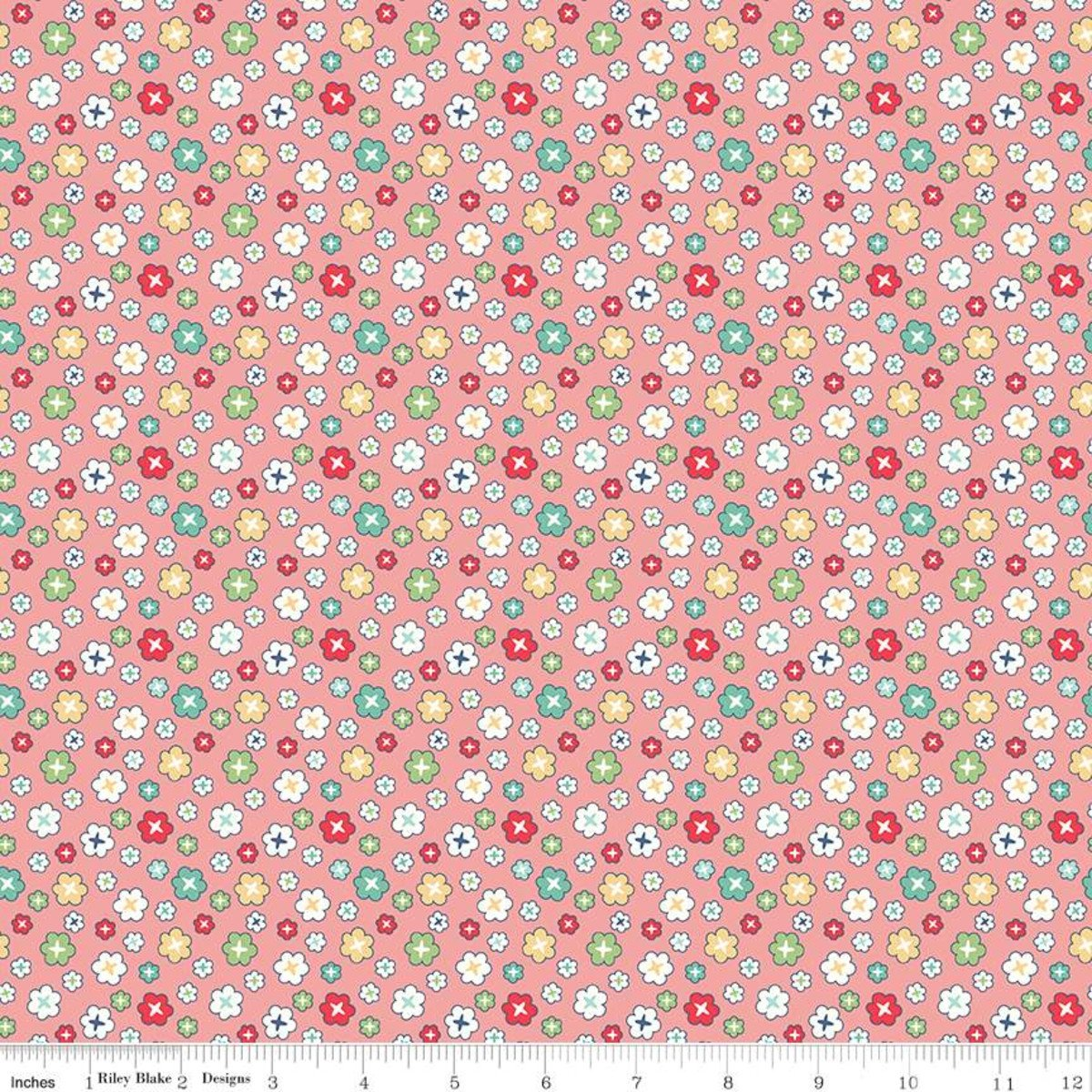 107/108 Vintage Happy 2 Blossom Wide Quilt Backing by Lori Hold of Bee in My Bonnet for Riley Blake Designs - Coral