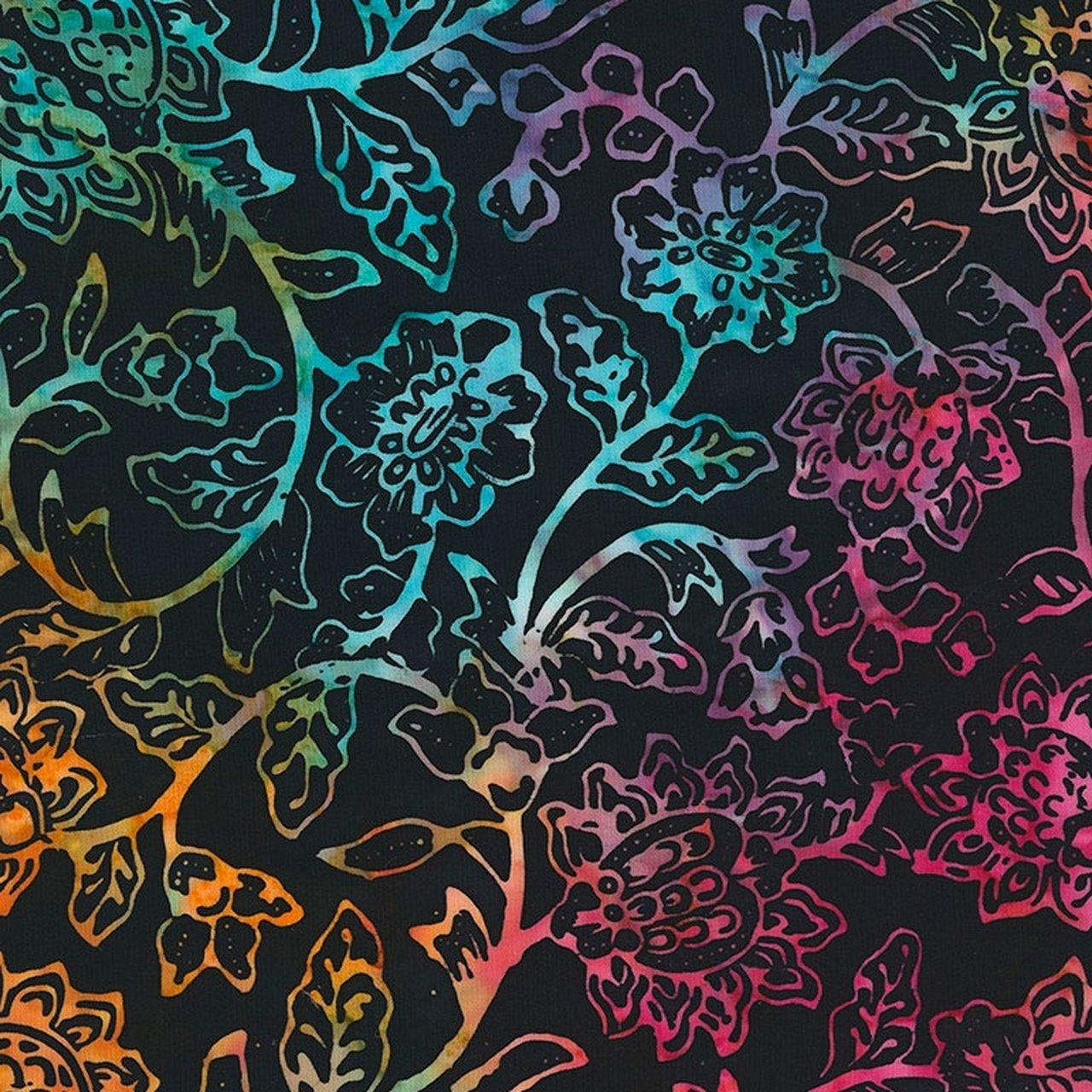 106 Spring Blossom Extra Wide Tonga Batik Quilt Backing - Wild