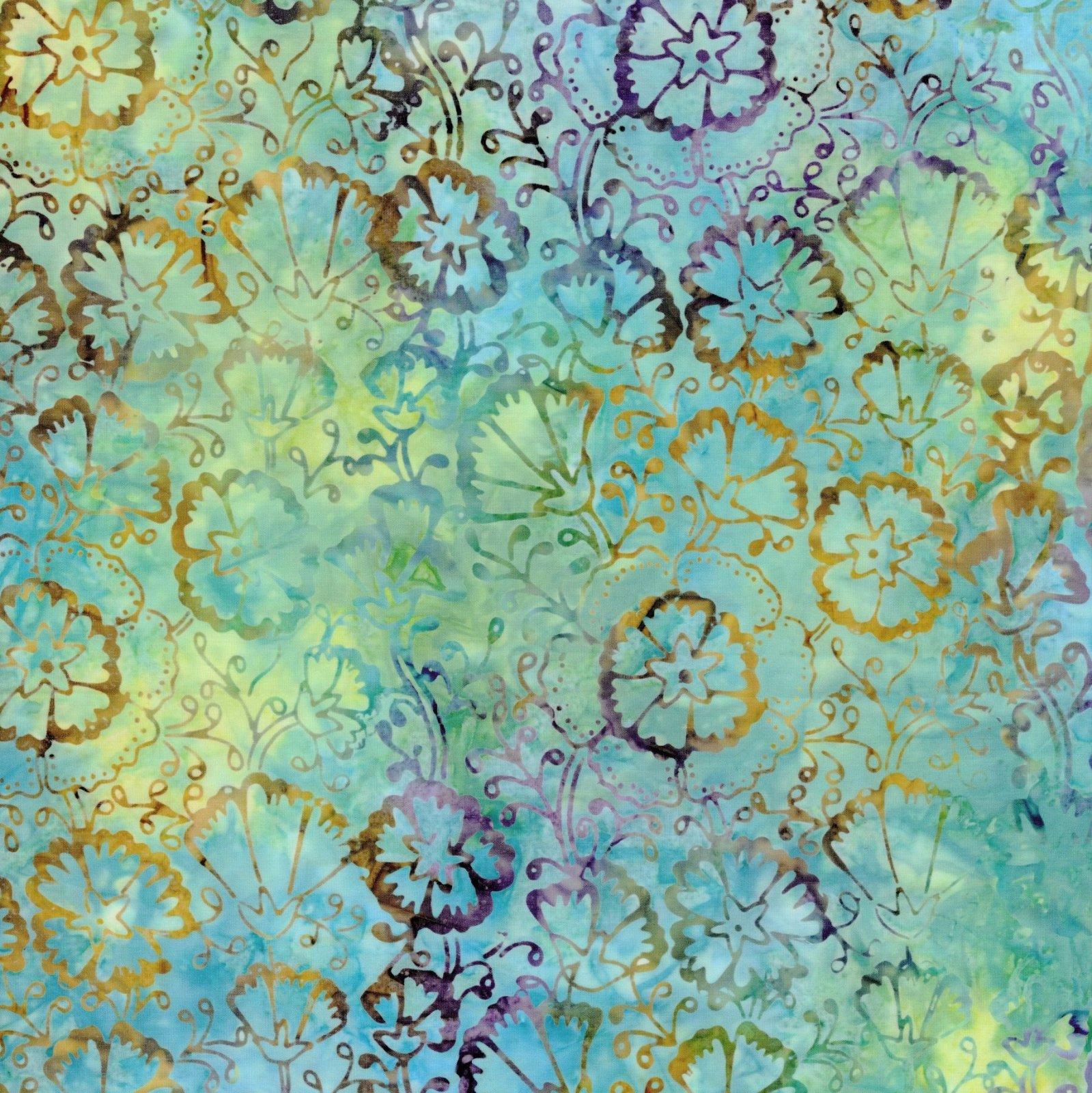 106 Spring Floral Extra Wide Tonga Batik Quilt Backing - Escape
