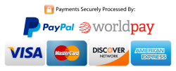 Secure Payments by Paypal Worldpay Visa Discover Mastercard American Express
