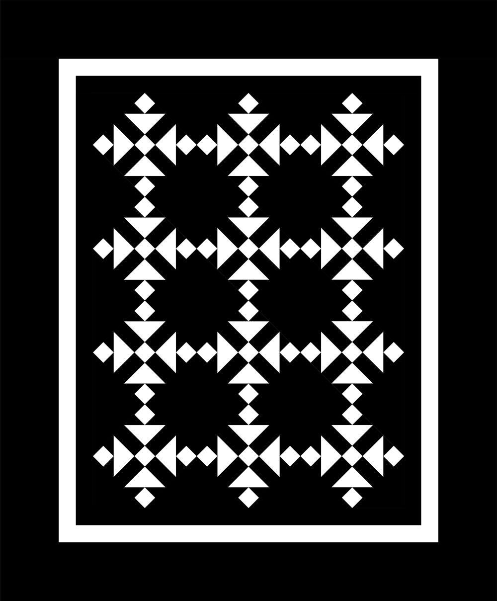 Almost Amish Quilt Kit (51.5 x 62) + CG Cat's Cradle Ruler -- Black & White
