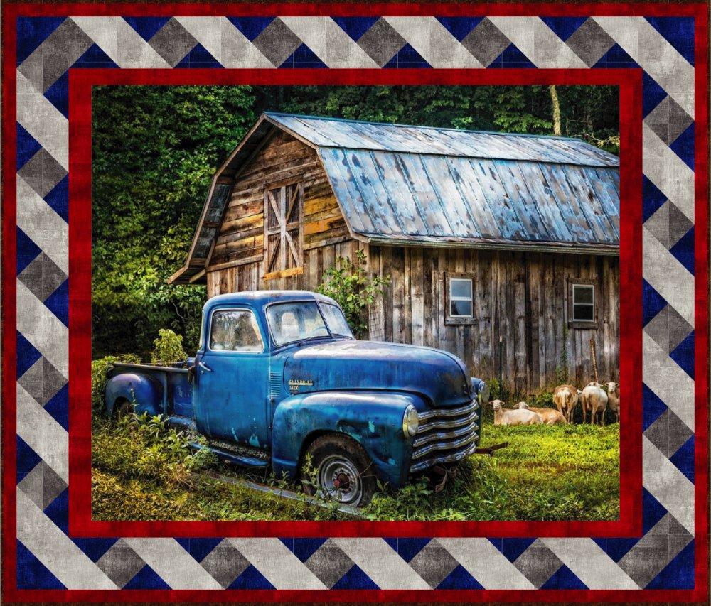 Blue Truck Panel Quilt Kit (46.5 x 54.5)
