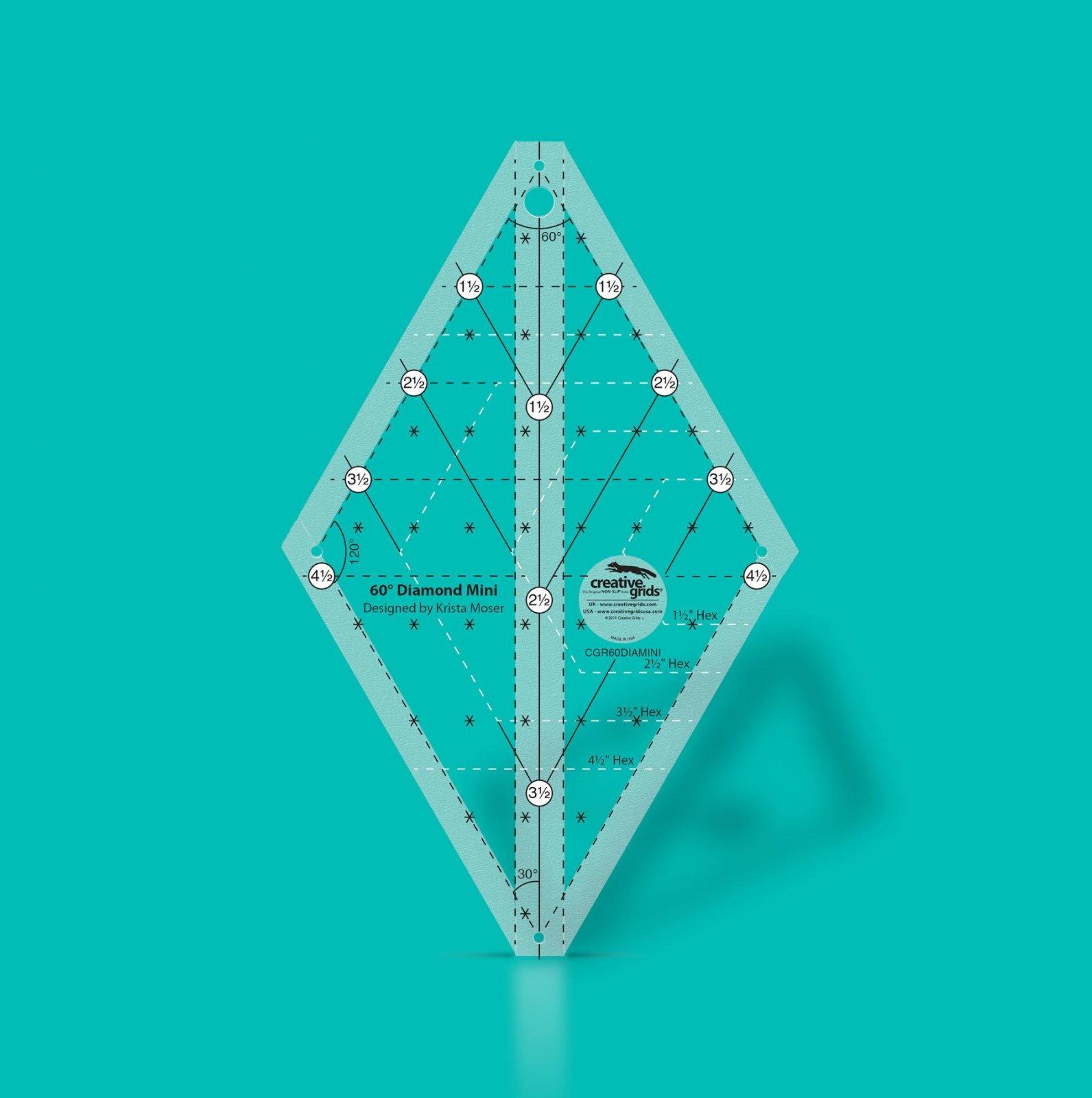 Creative Grids 60 Degree Mini Diamond Ruler | SKU# CGR60DIAMINI