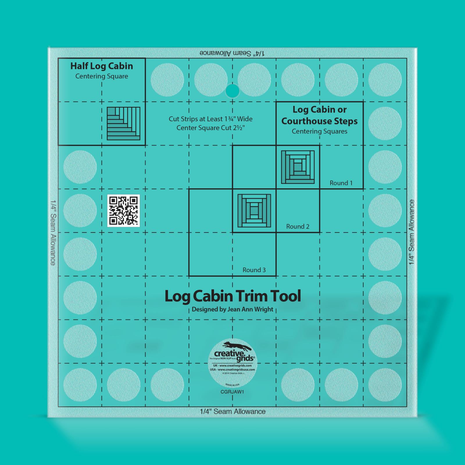 Creative Grids Log Cabin Trim Tool for 8 Finished Blocks | SKU# CGRJAW1