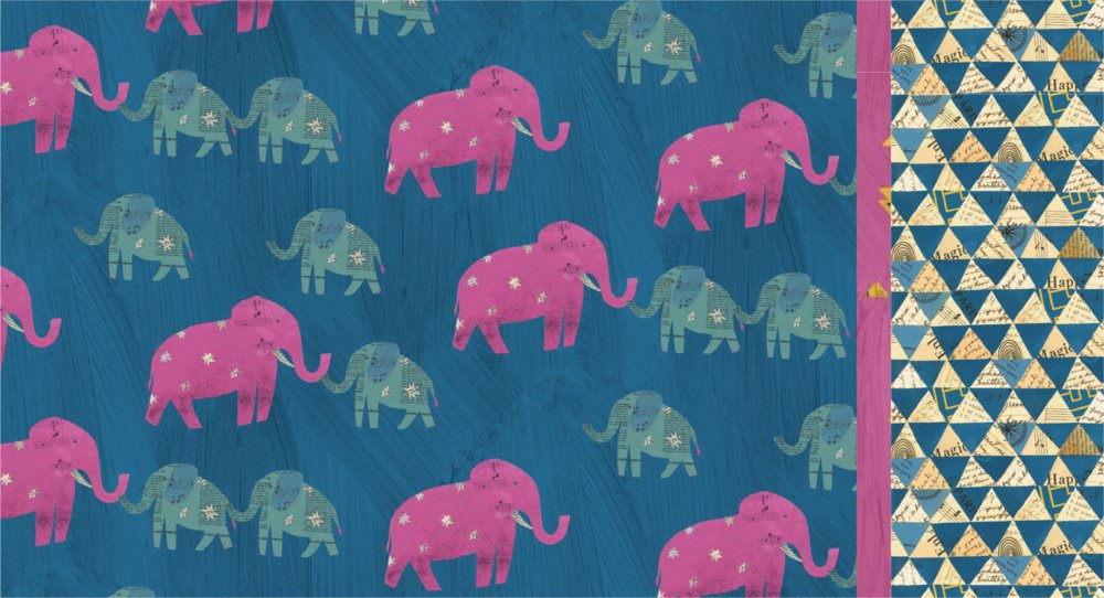 Roll & Sew Pillowcase Kit - Blue Elephant Wish #2  (Directional)