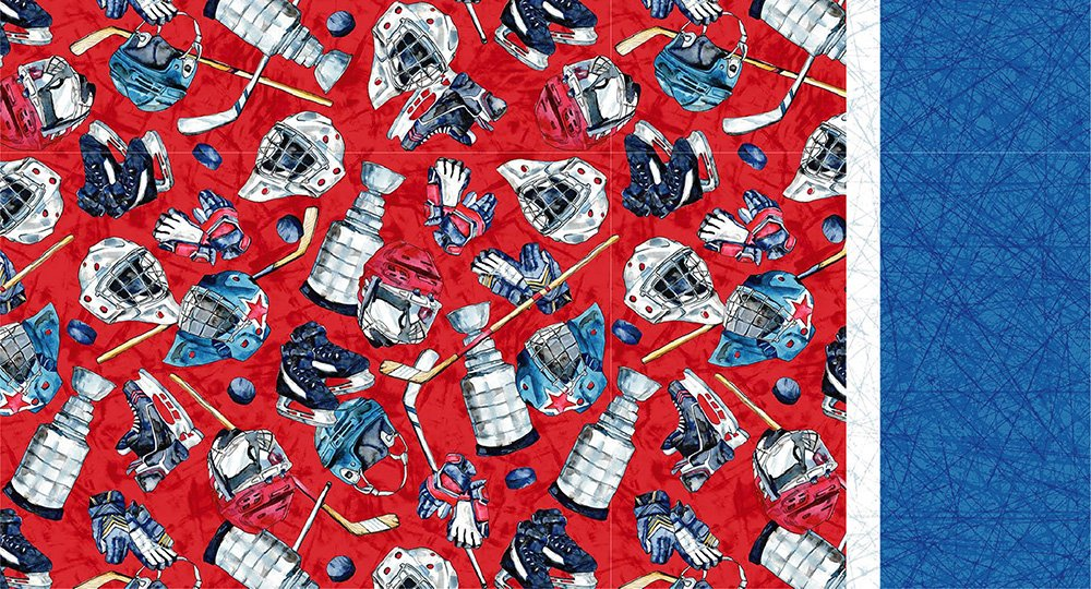Roll & Sew Pillowcase Kit - Ice Hockey Gear on Red #1