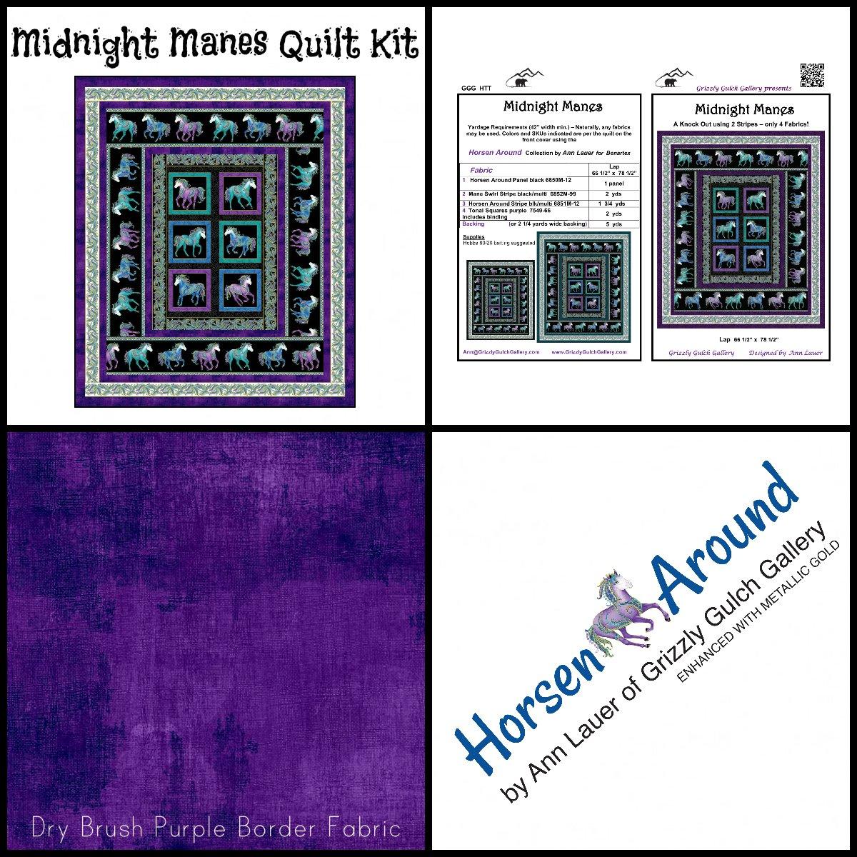 Midnight Manes Panel Quilt Kit (66.5 x 78.5)