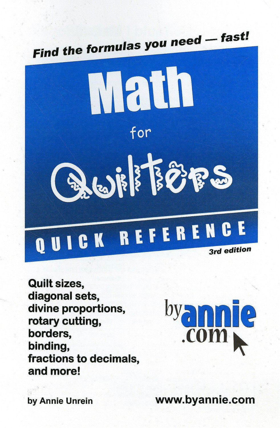 Math for Quilters Quick Reference, 3rd Edition