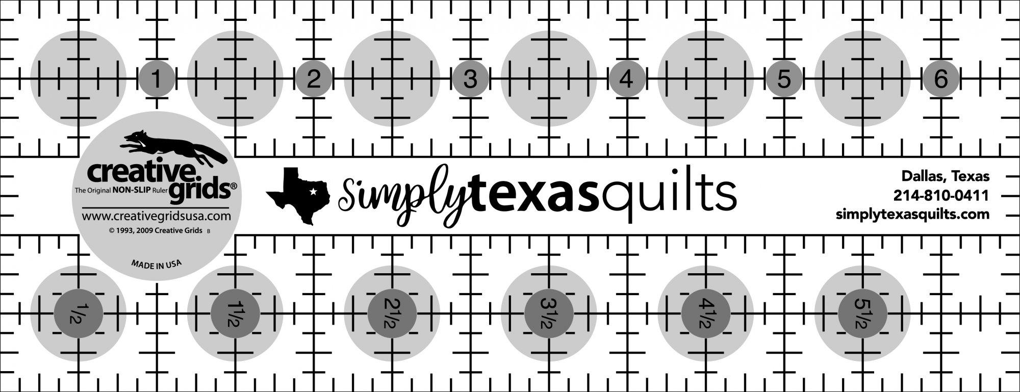 Creative Grids - Simply Texas Quilts Custom Ruler 2.5 x 6.5