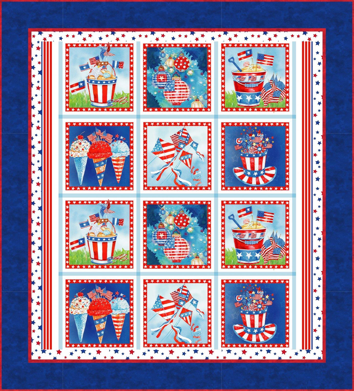 Star Spangled Panel Quilt Kit (53 x 58.5) - Blue