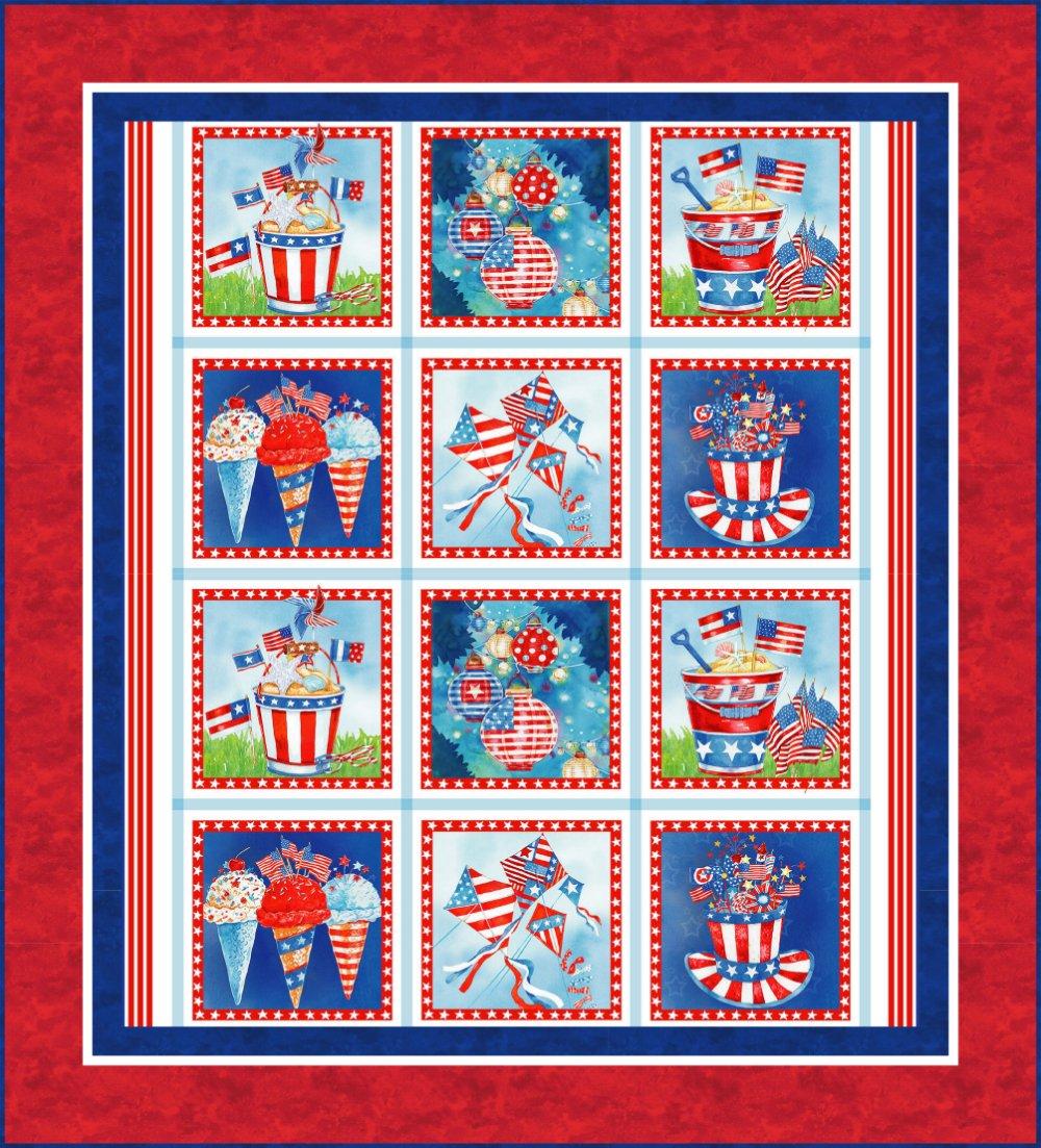 Star Spangled Panel Quilt Kit (53 x 58.5) - Red