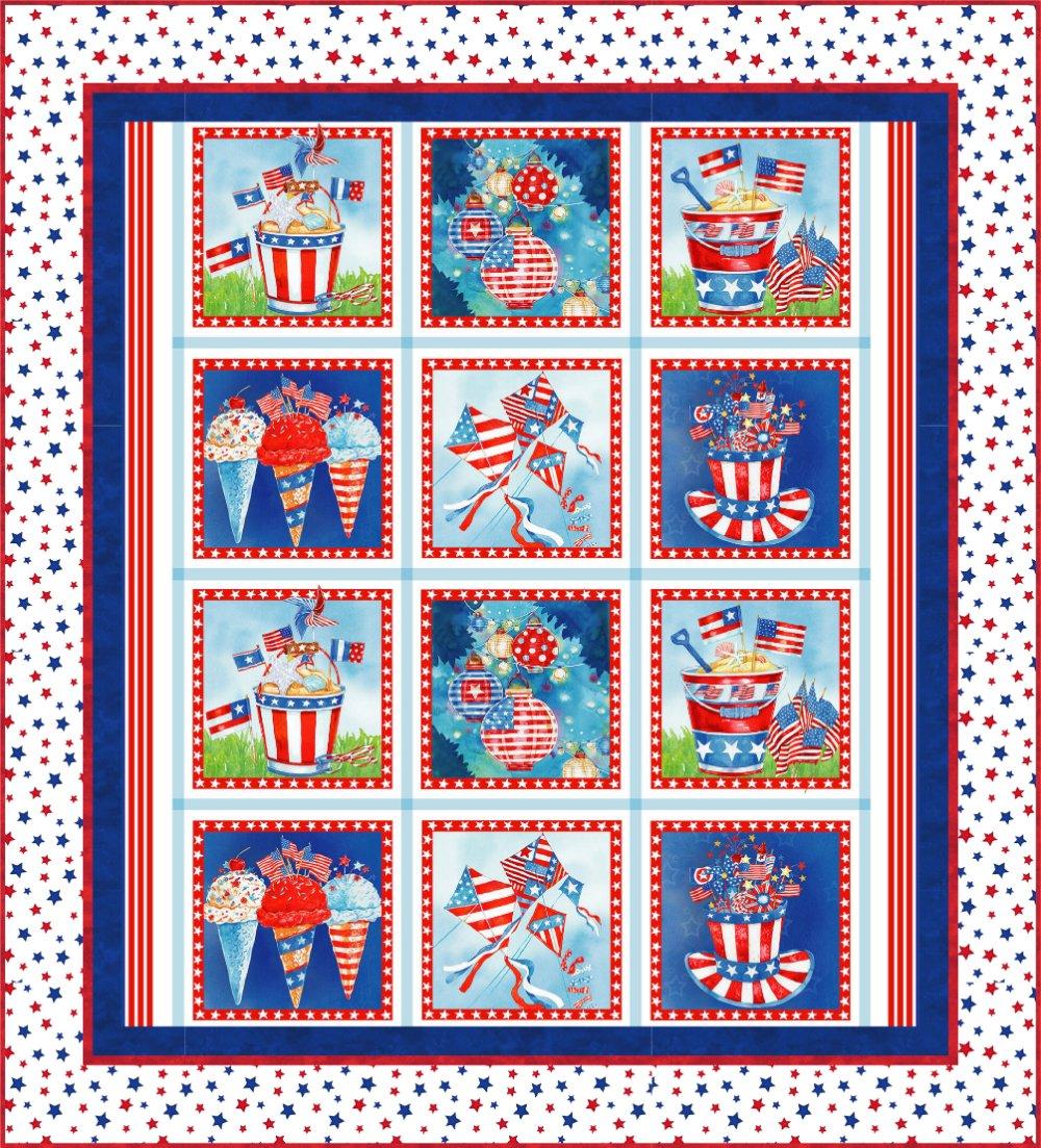 Star Spangled Panel Quilt Kit (53 x 58.5) - White