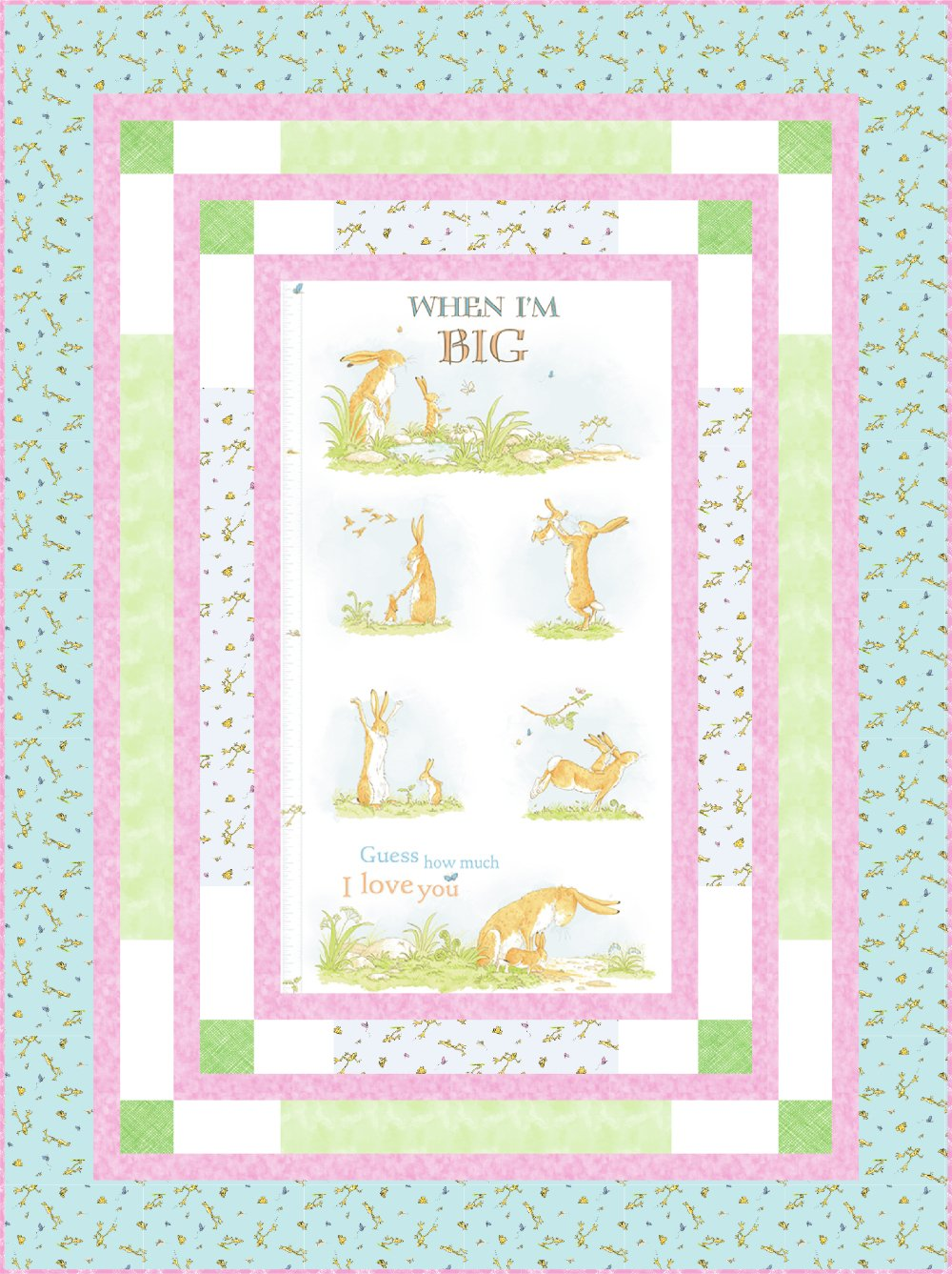 When I'm Big Panel Quilt Kit (53.5 x 71.5) - Teal