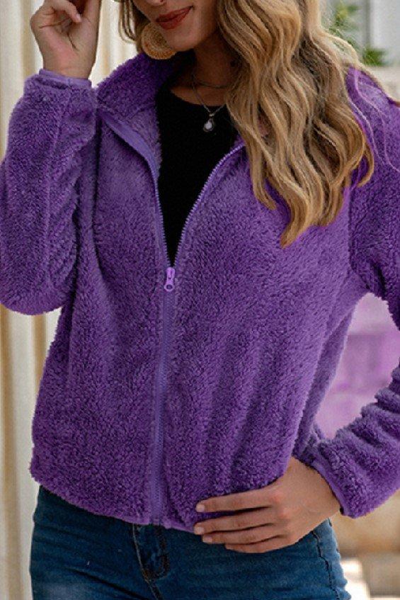 Purple Plush Zip Jacket