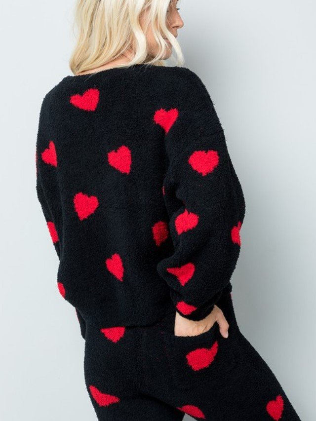 Heart Print Teddy Top