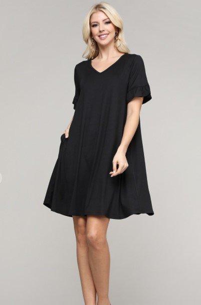 V Neck Short Sleeve Ruffle Detail Dress With Side Pockets