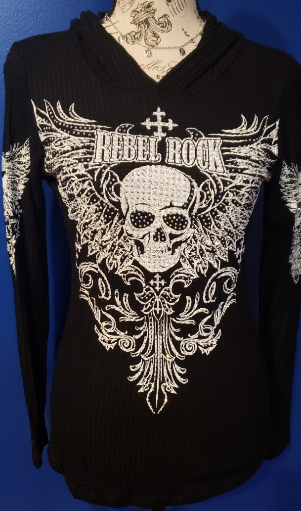 Black Knit Hoodie with Skull