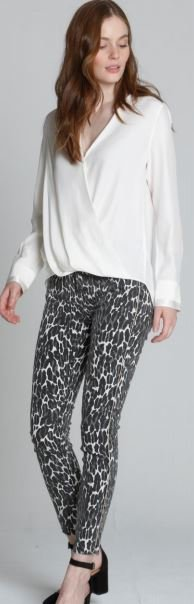 Jackie X Cougar Print Jeans with Frayed Bottom