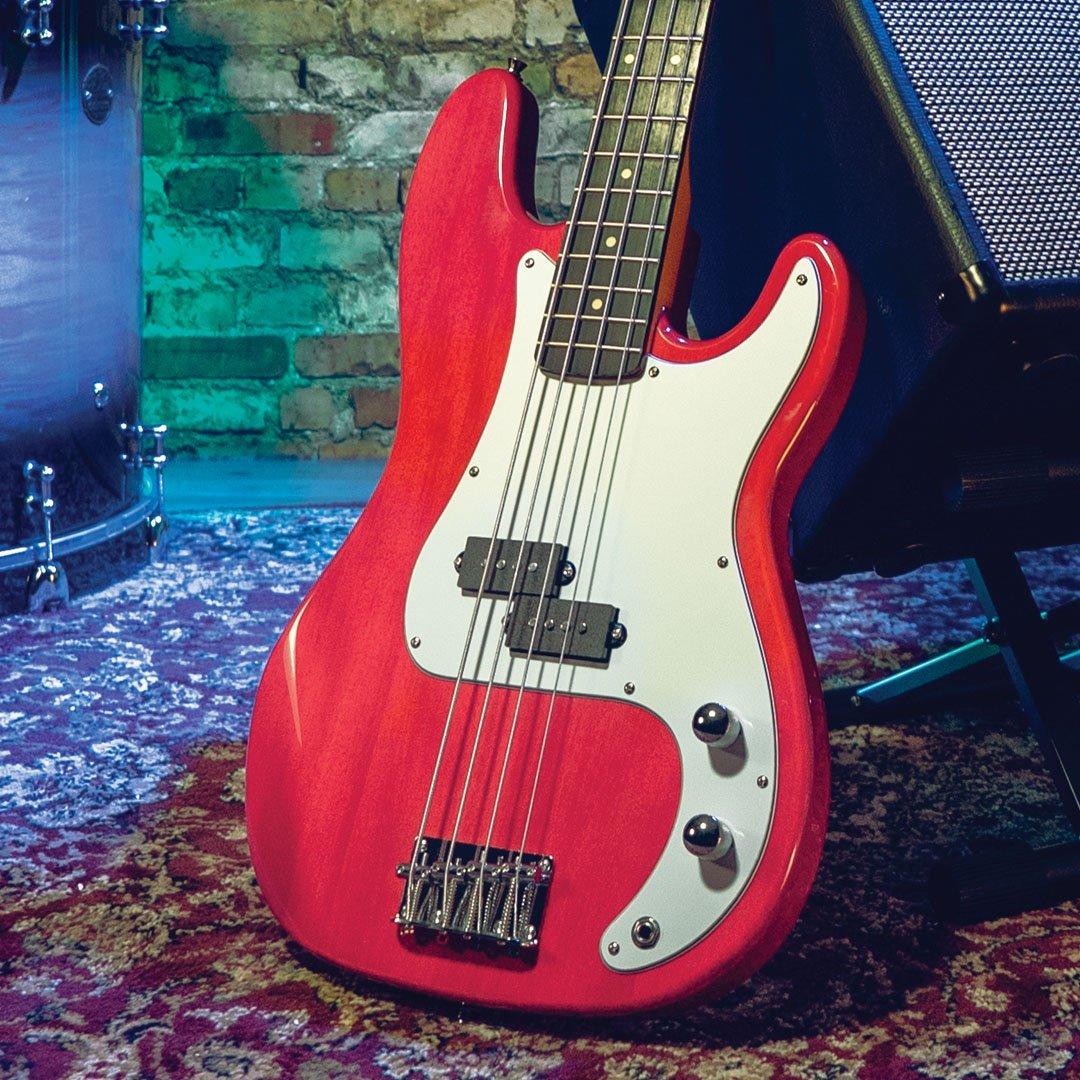 Oscar Schmidt Dbl Cutaway Bass T-Red