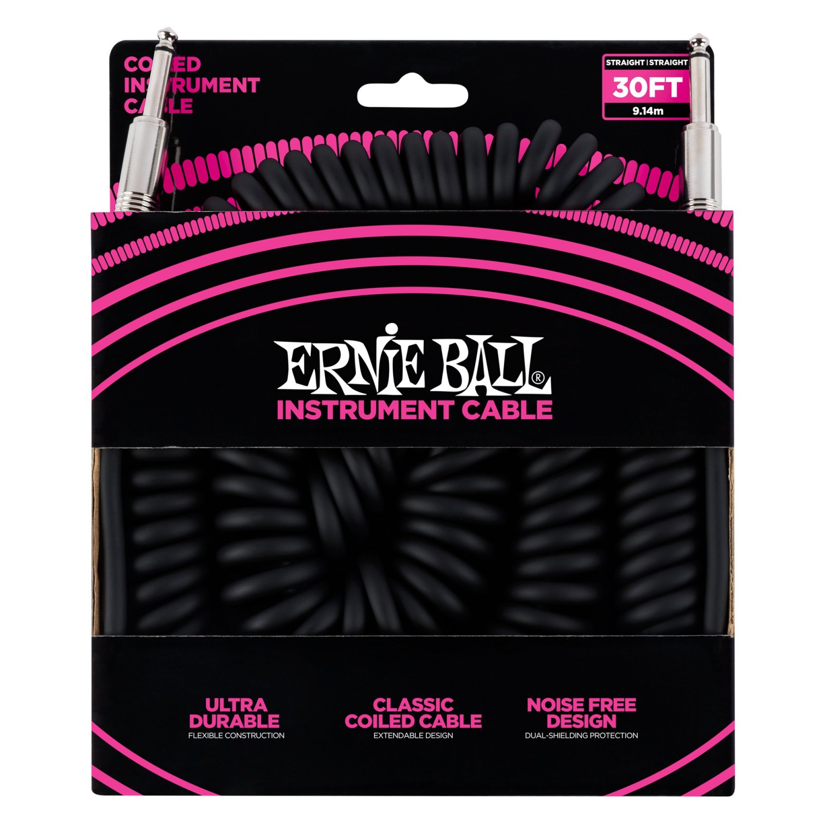 Ernie Ball Coiled Instrument Cable 30' Black
