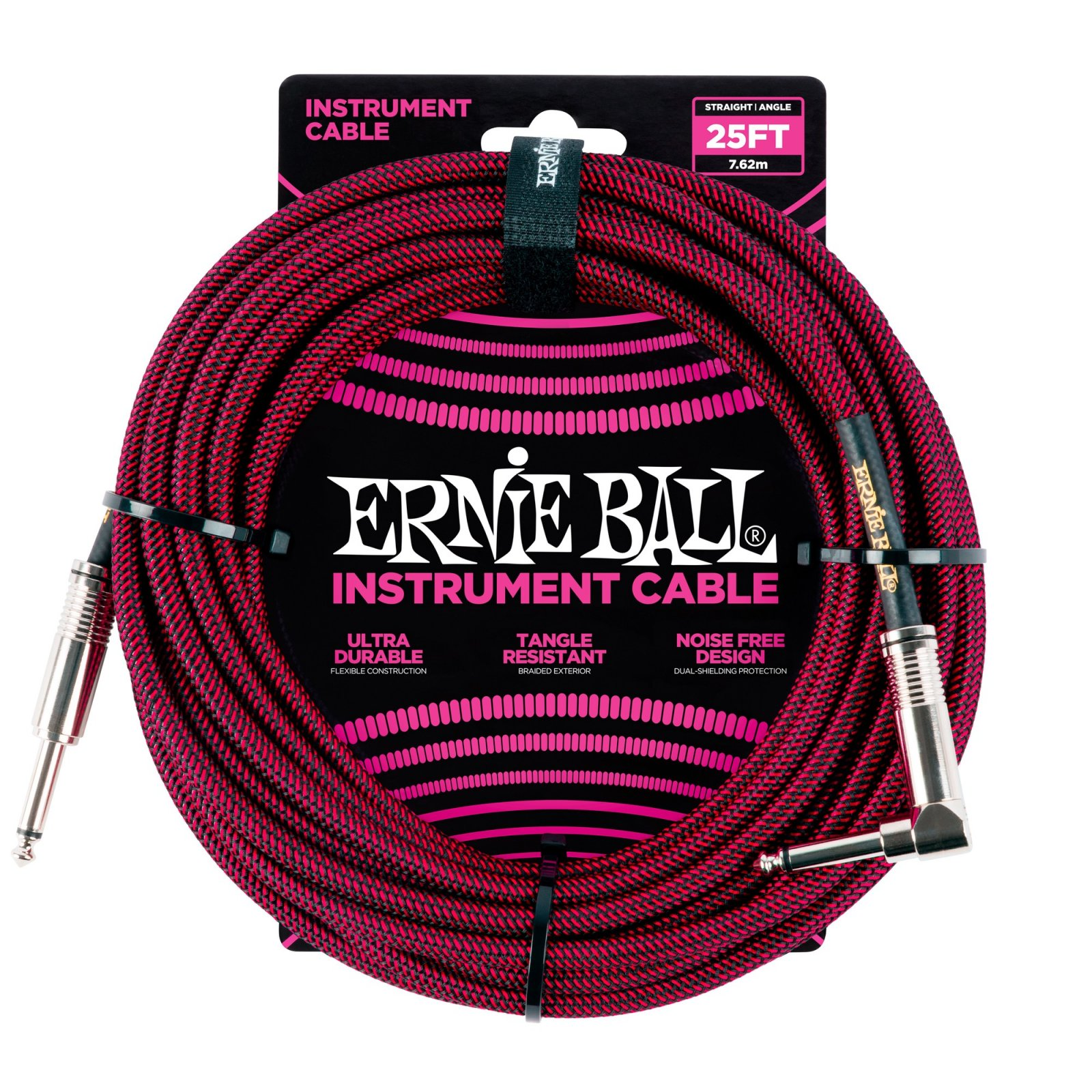 Ernie Ball  Braided Instrument cable  Blk/Rd 25'