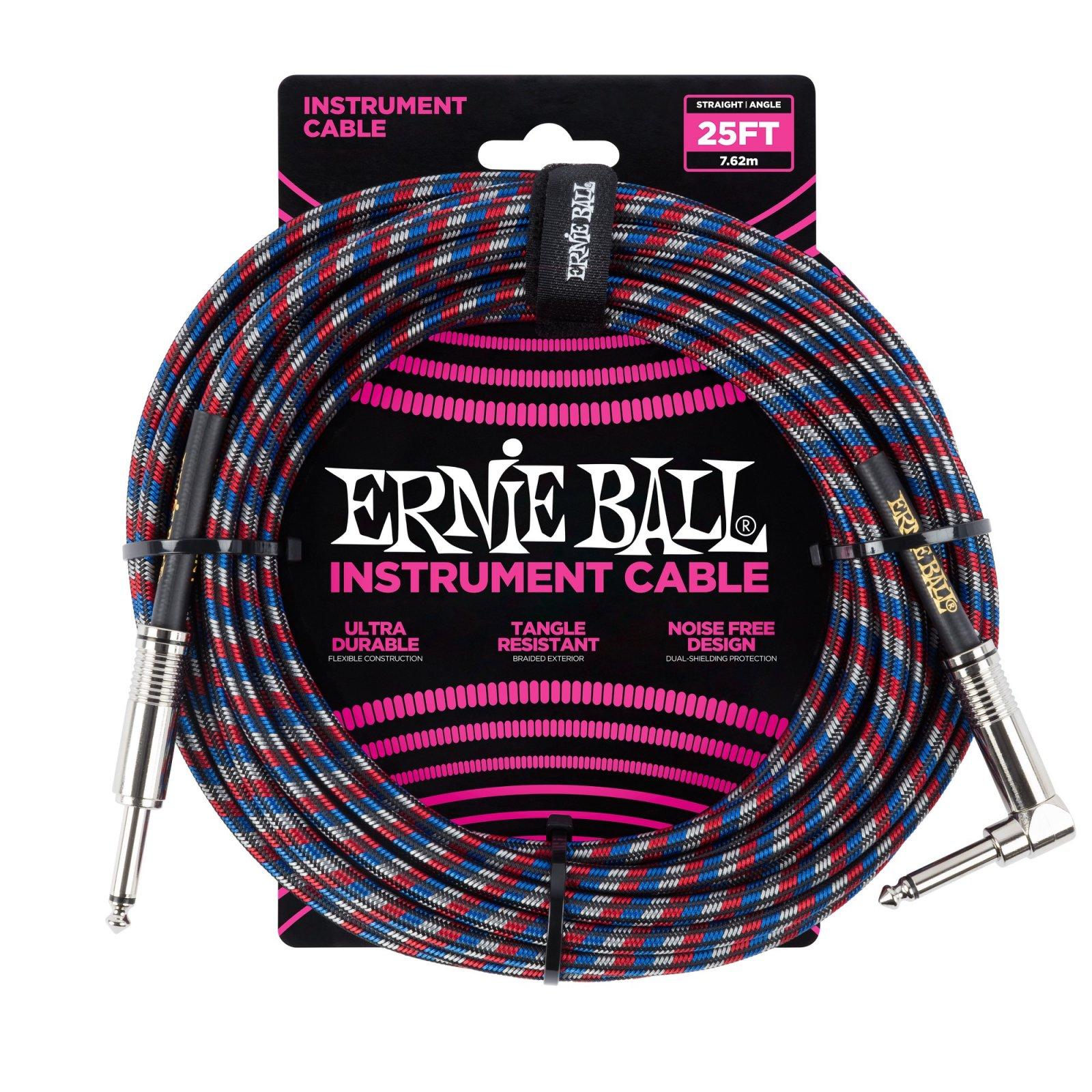 Ernie Ball Straight/RA RWB Cable 25'