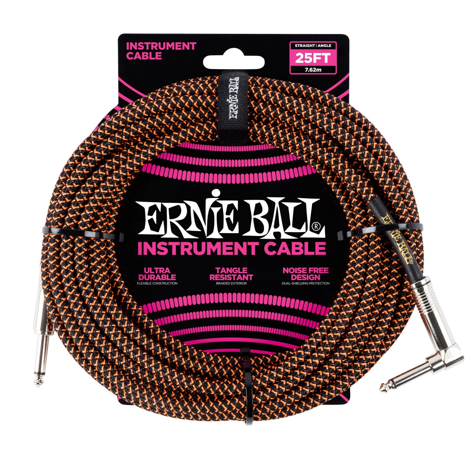 Ernie Ball  Braided Instrument Cable Blk/Or 25'