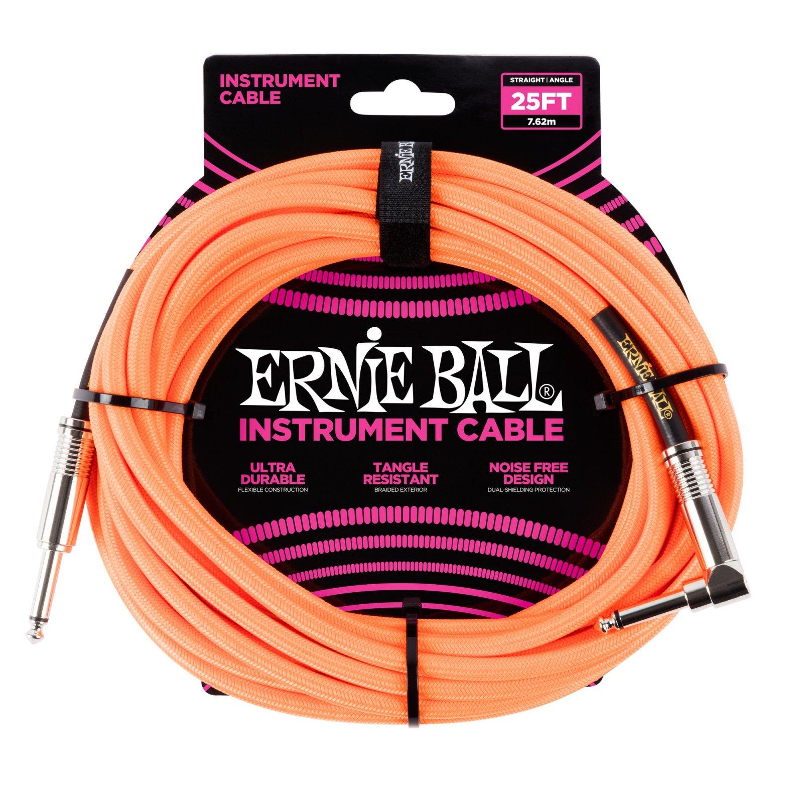 Ernie Ball  Braided Instrument Cable Neon Orange 10'