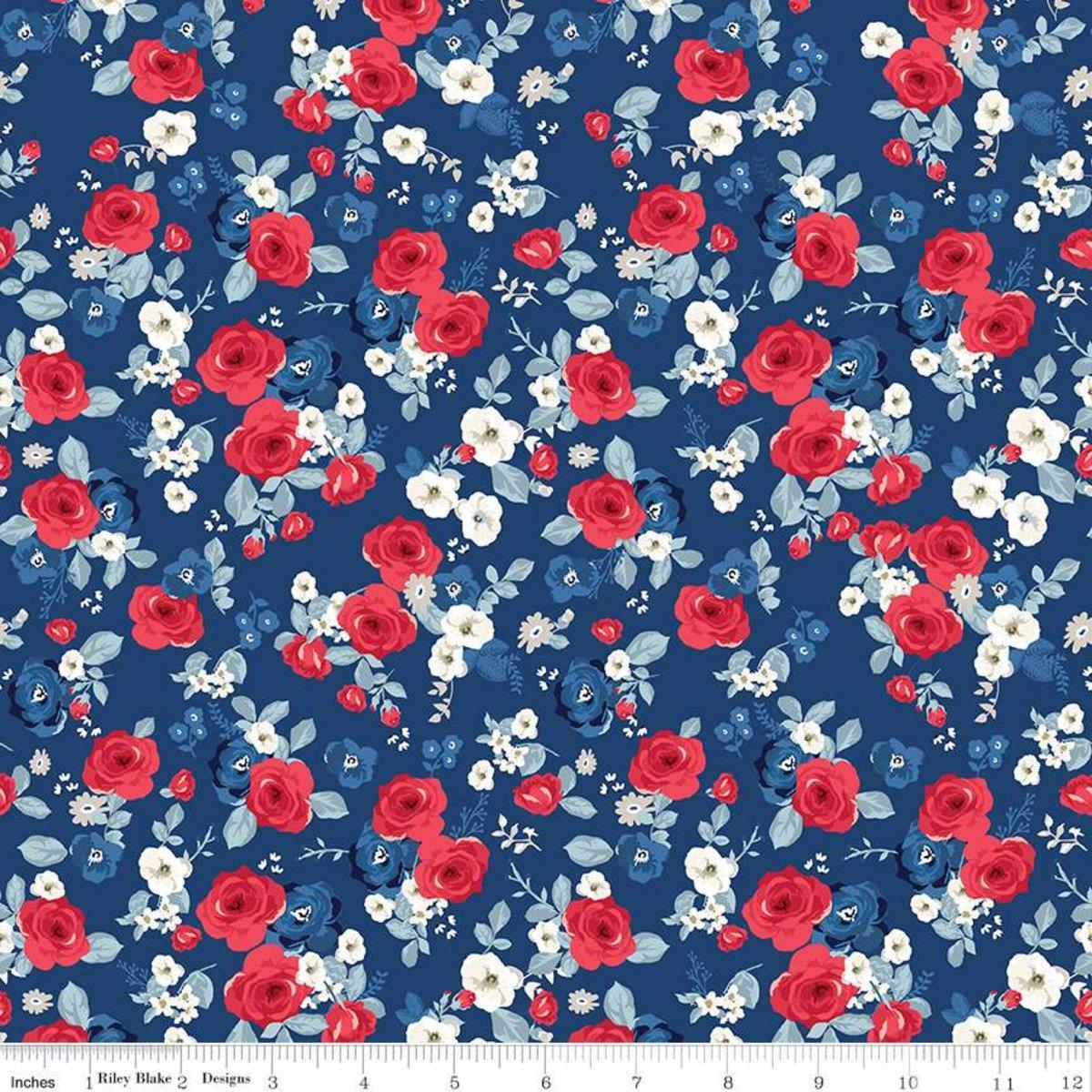 Floral Navy Land of Liberty Riley Blake Designs