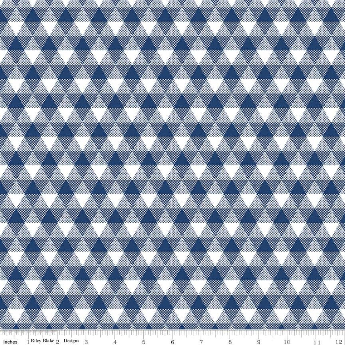Triangle Gingham Navy Land of Liberty Riley Blake Designs