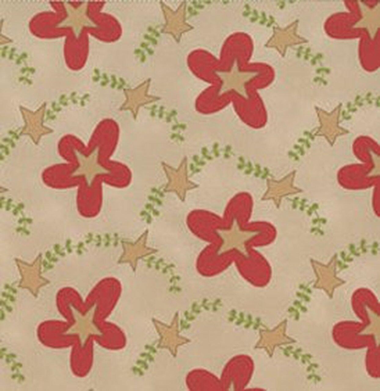 F-CB-CWK-SHA-17 Clothworks-Shasta Pr-17-Shasta Khaki (Tan w/ Red flowers & Stars)