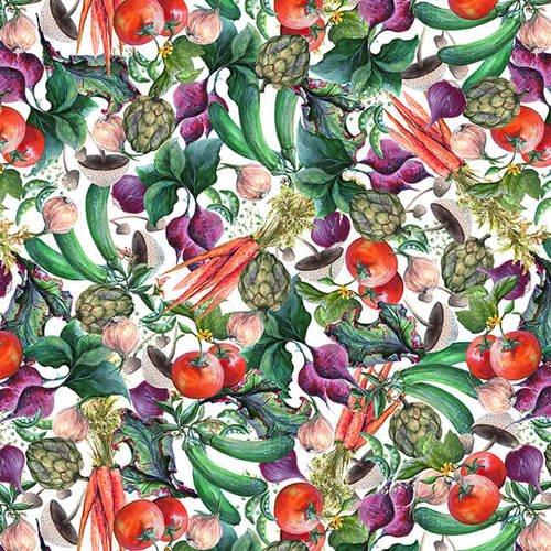 Blissful Bounty White Small Veggie Collage