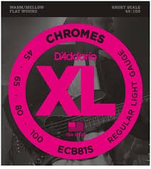 D'Addario ECB81S  Chromes flatwound short scale Electric Bass strings