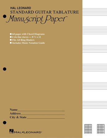 Standard Guitar Tablature Manuscript Pap