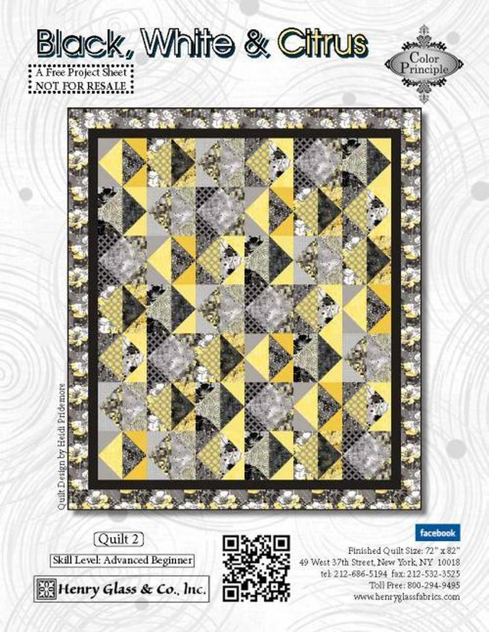 Black White & Citrus Quilt Pattern