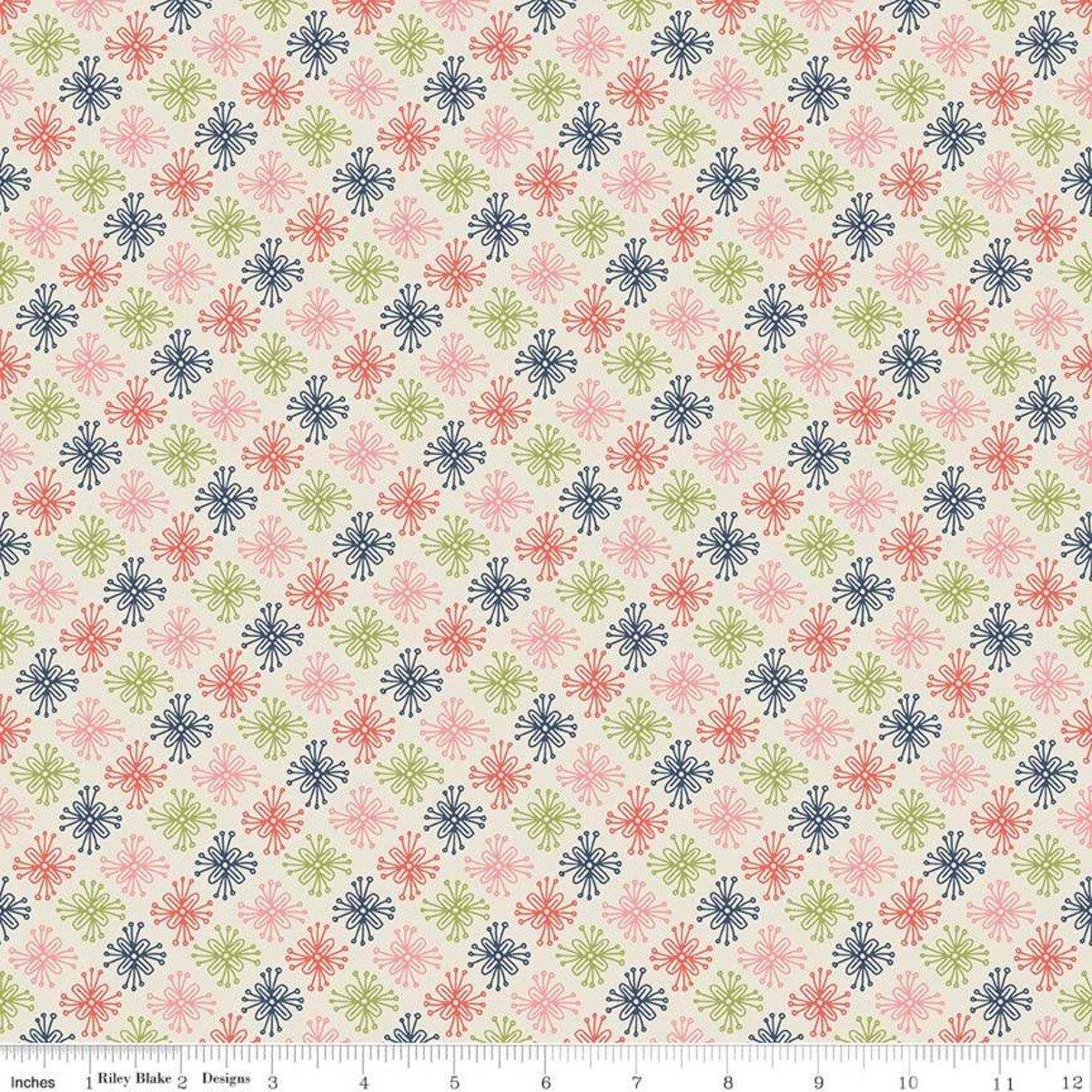 Sew Retro Star Flower Cream