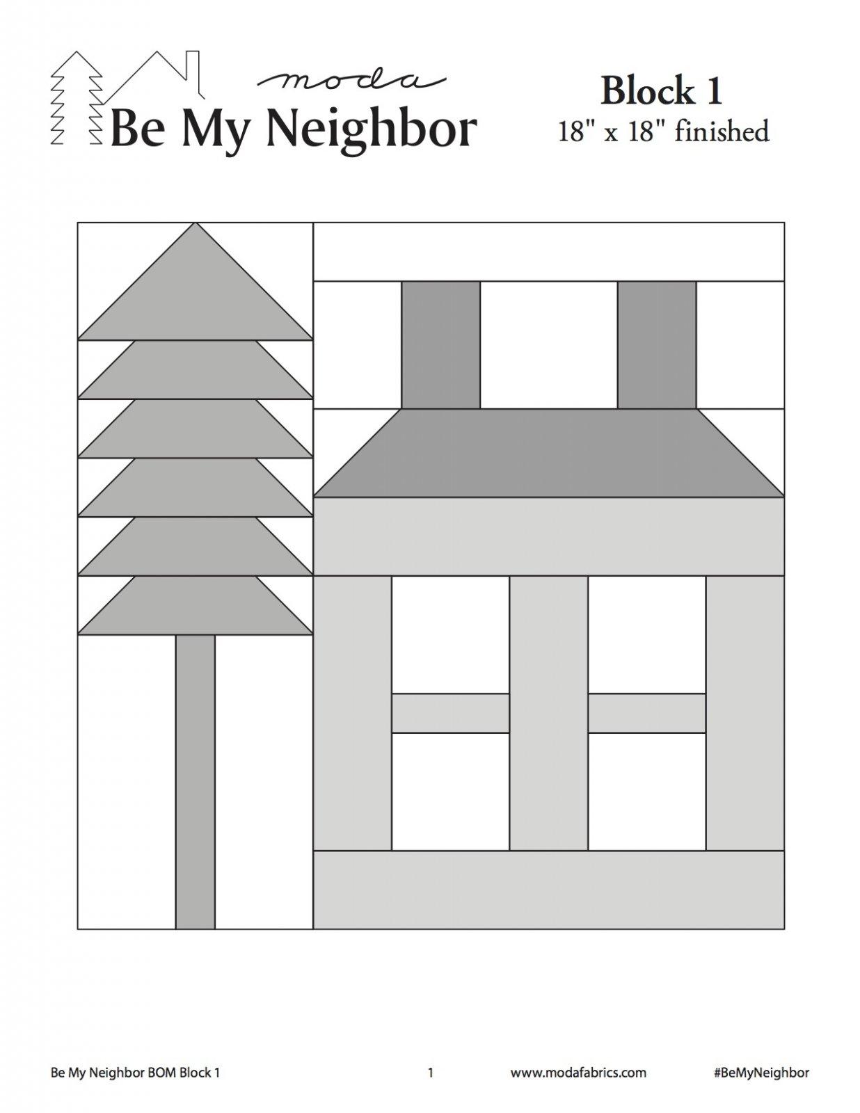 Be My Neighbor Quilt Along Block 1