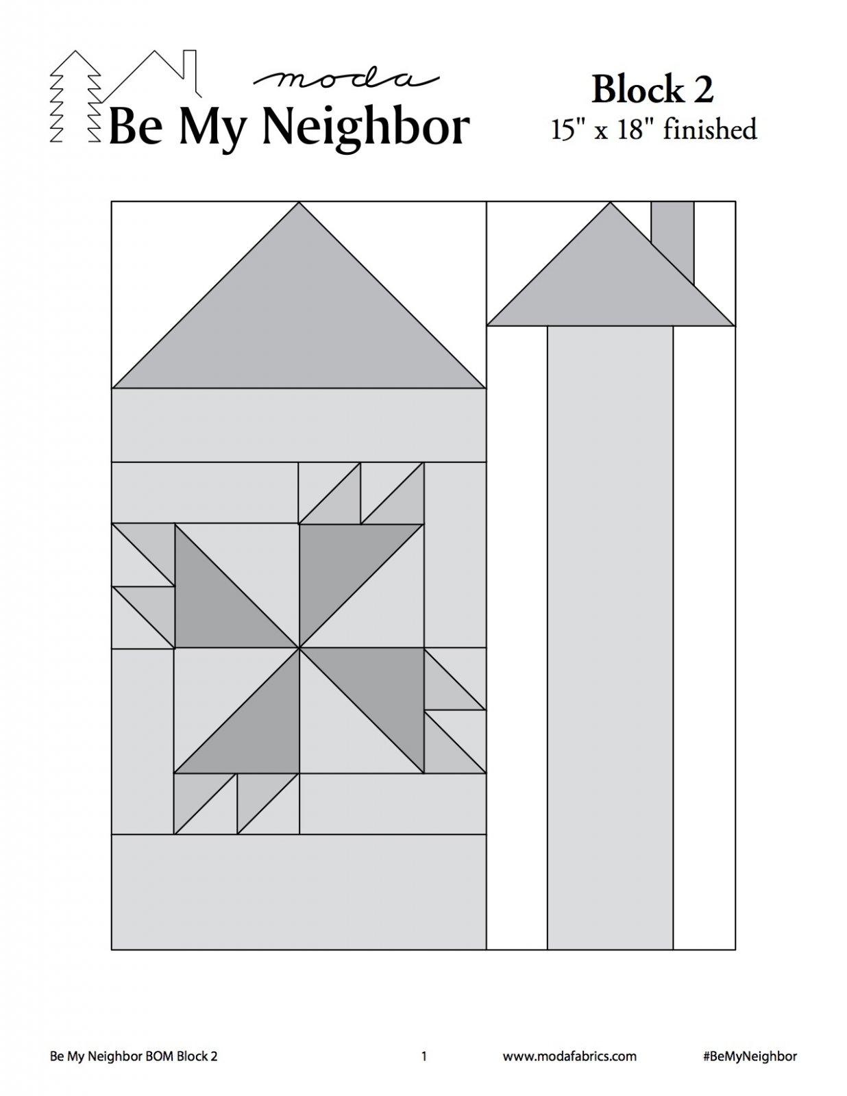 Be My Neighbor Quilt Along Block 2