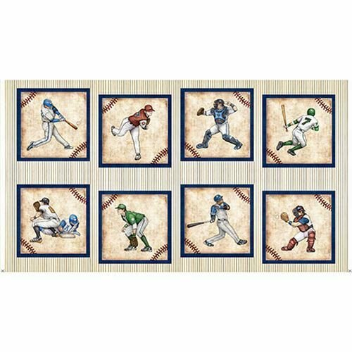 PANEL - Grand Slam By Quilting Treasures - Cream Player Picture Patches #24906-E