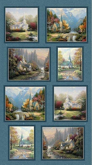 PANEL - Thomas Kinkade Hometown Chapel 3034-55 Panel