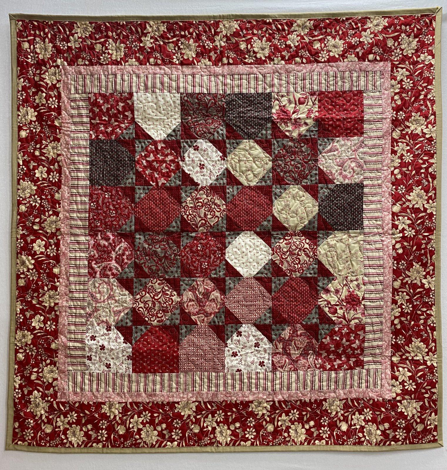 Red Floral Lap Quilt