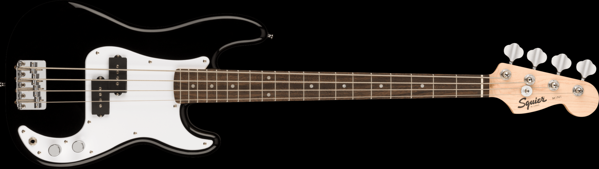 Fender Squire Mini P Bass, Laurel Fingerboard, Black