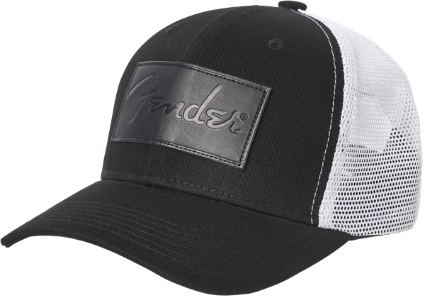 Fender® Debossed Logo Adjustable Hat, Black and White