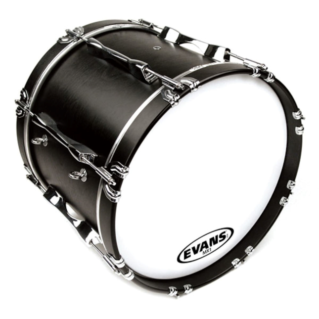 Evans MX1 White Marching Bass Drum Head 20 Inch