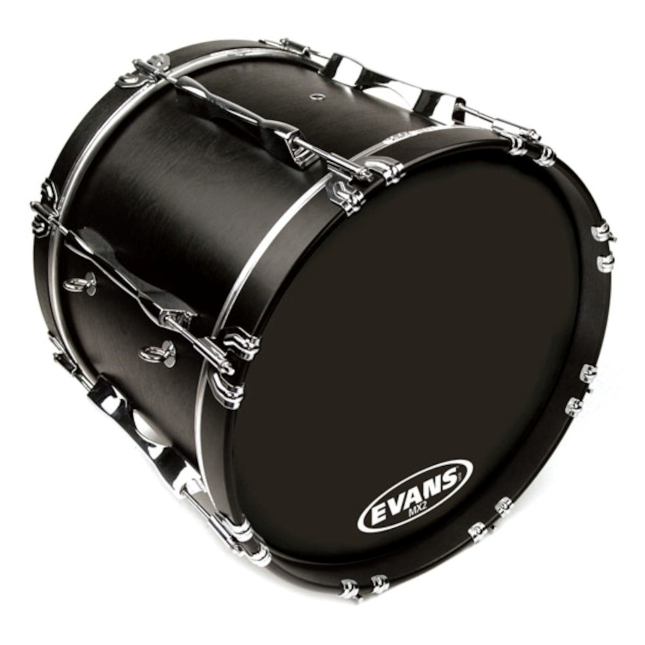 Evans MX2 Black Marching Bass Drum Head 24 Inch