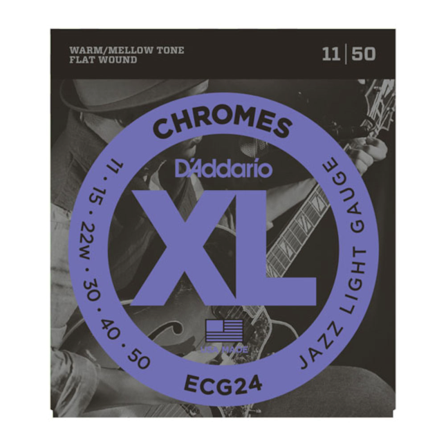 D'Addario ECG24 Chromes Flat Wound Electric Guitar Strings Jazz Light 11-50