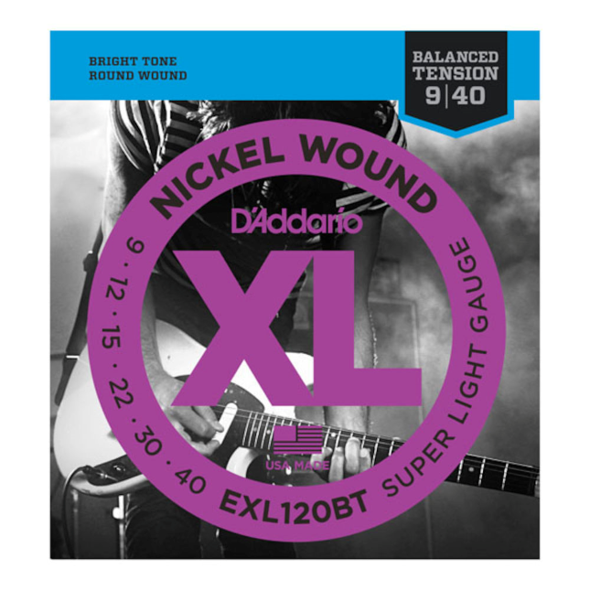 D'Addario EXL120BT Nickel Wound Electric Guitar Strings Balanced Tension Super Light 09-40
