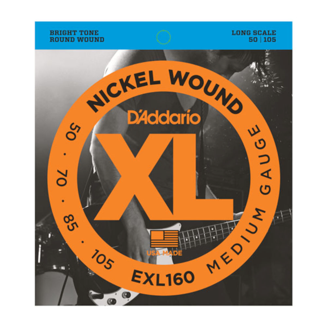 D'Addario EXL160 Nickel Wound Bass Guitar Strings Medium 50-105 Long Scale