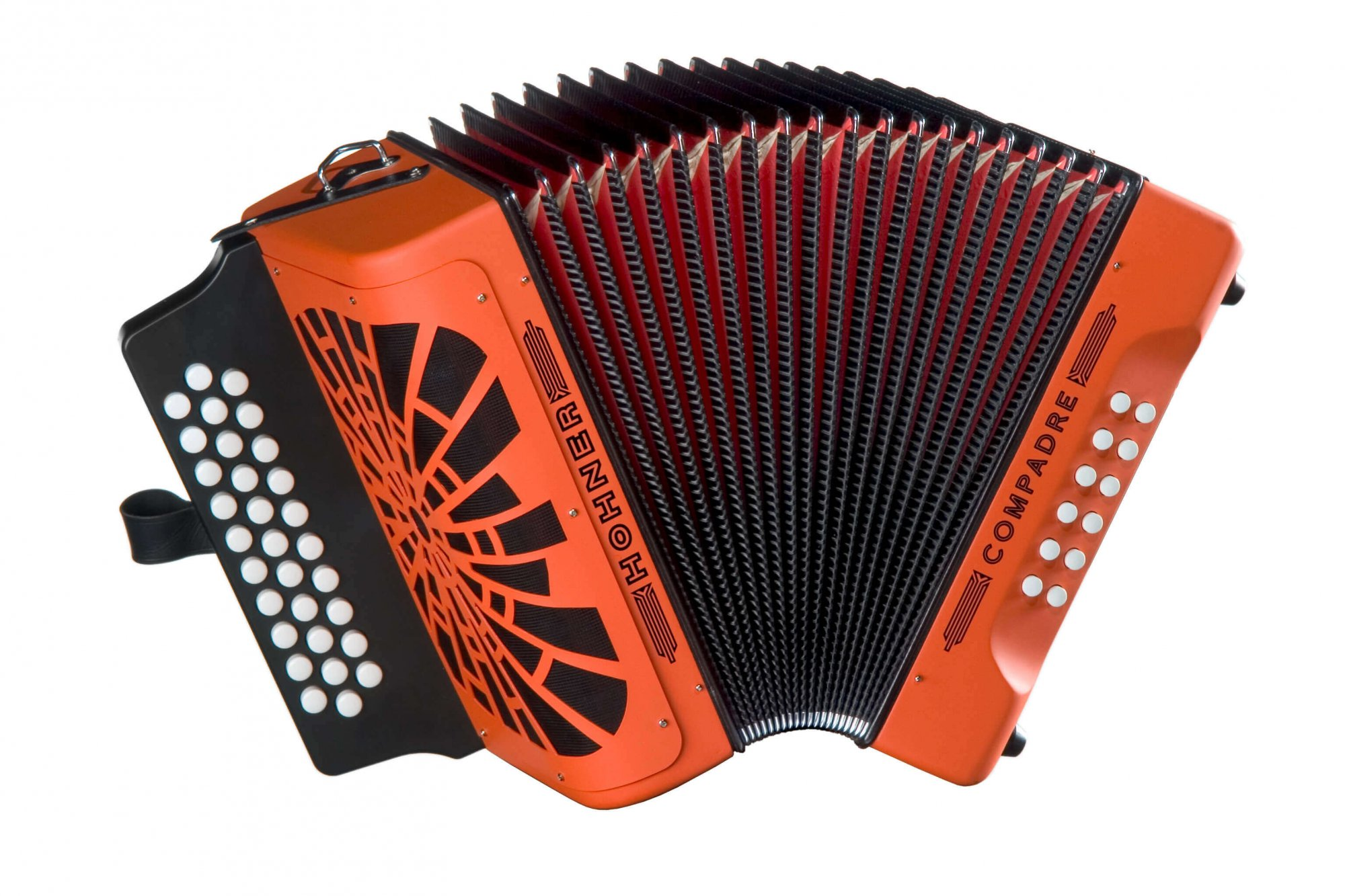 Hohner COGO-N Compadre GCF Accordion, Orange with Silver Grille and Gig Bag