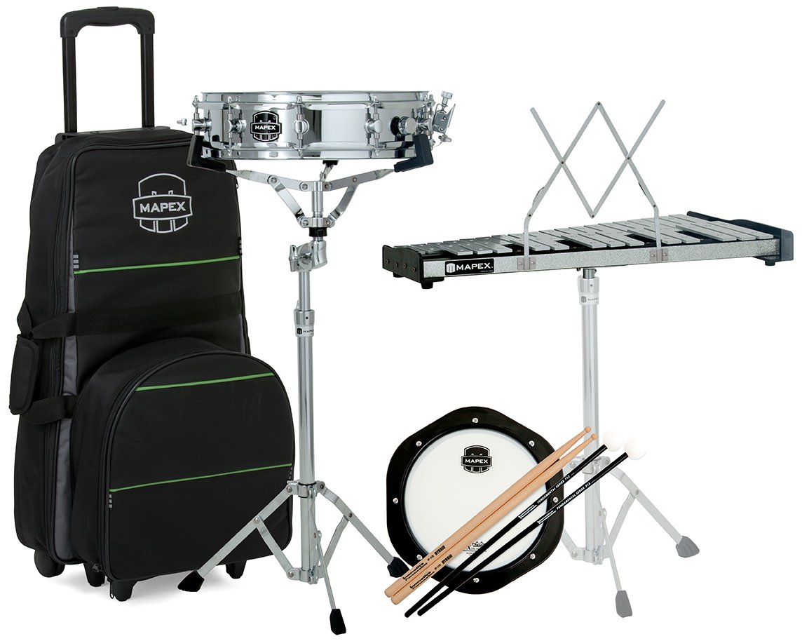 Mapex MCK1432DP Backpack Snare Drum/Bell Percussion Kit, Rolling Bag